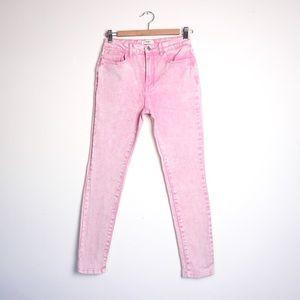 FOREVER 21 Pink Acid Wash Skinny Jeans